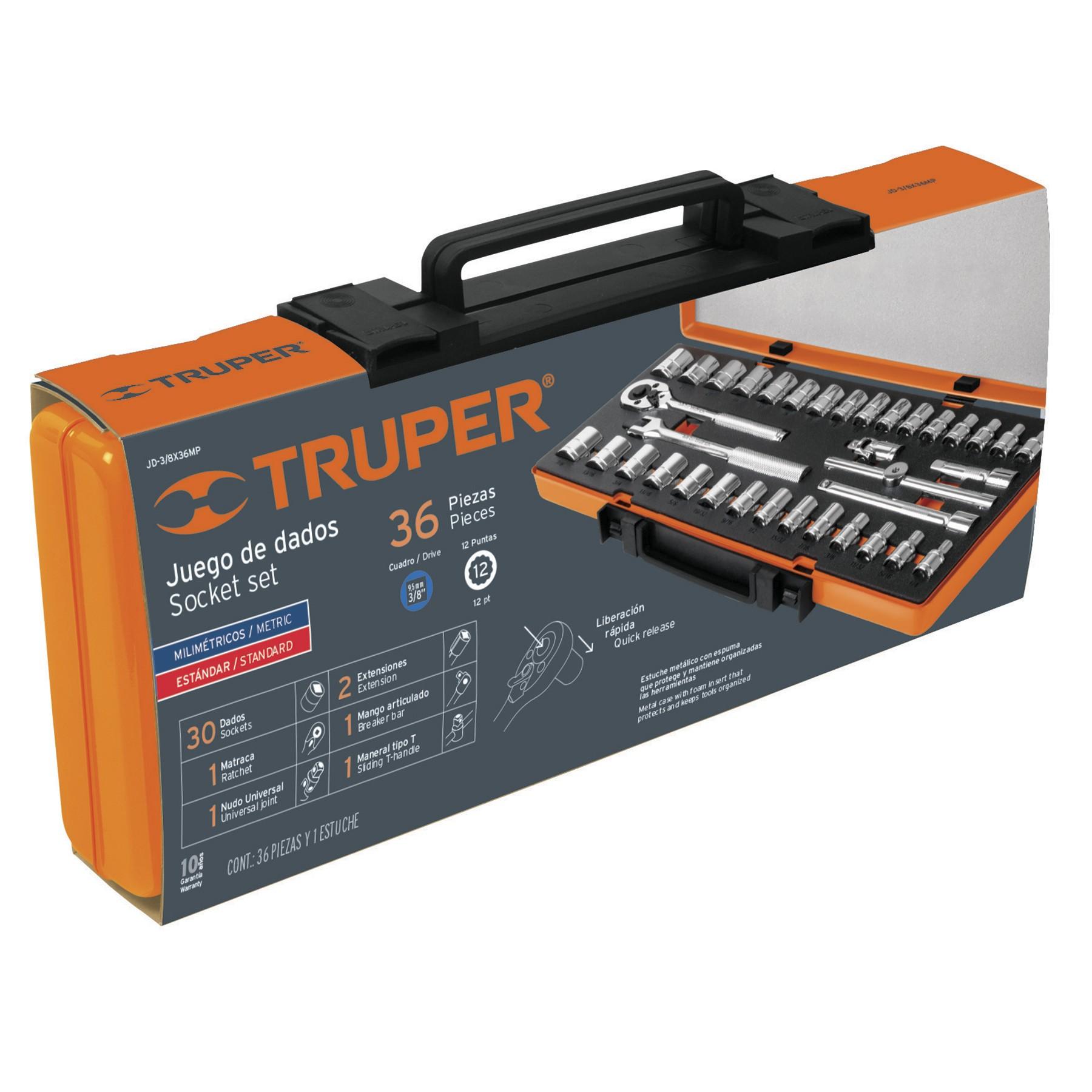 Juego de herramienta Truper para mecánico, 36 piezas